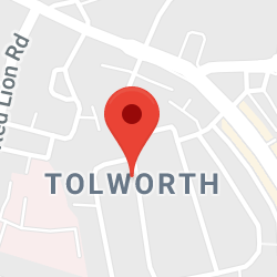 Cropped Google Map with pin over Tolworth