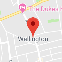 Cropped Google Map with pin over Wallington