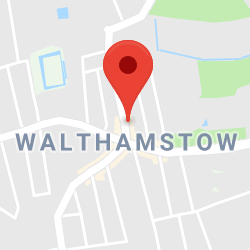 Cropped Google Map with pin over Walthamstow