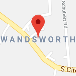 Cropped Google Map with pin over Wandsworth