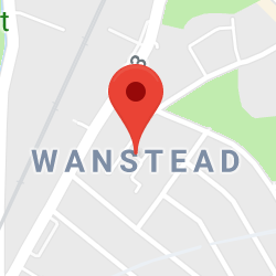 Cropped Google Map with pin over Wanstead