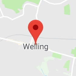 Cropped Google Map with pin over Welling