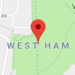 Cropped Google Map with pin over West Ham