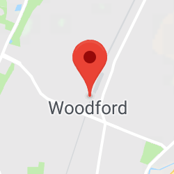Cropped Google Map with pin over Woodford