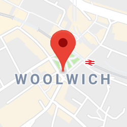 Cropped Google Map with pin over Woolwich